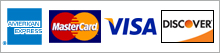 We accept American Express, Discover Card, MasterCard & Visa.